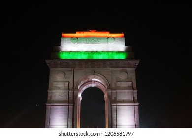India gate illuminated with Tricolor (Indian Flag) at night.