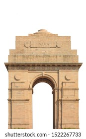 The India Gate isolated on white background. It is a war memorial also known as All India War Memorial in Delhi.