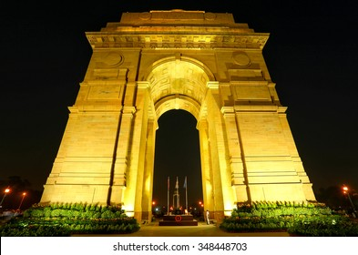 India Gate with lights at night, New Delhi, India. It is a memorial to 82,000 soldiers of the undivided British Indian Army who died in the period 1914-1921