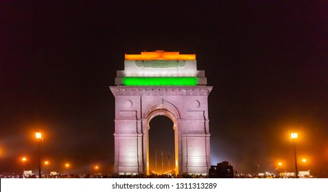 India Gate, New Delhi, India; 26-Apr-2018; The India Gate with the tri-coloured lightings; an after the sunset/ evening view