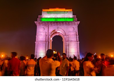 India Gate, New Delhi, August,2018: It is a triumphal arch architectural style war memorial designed by Sir Edwin Lutyens to 82,000 soldiers of the Indian Army who died in the First World War.