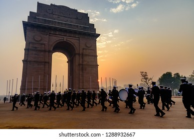India Gate, New Delhi, India, January-2019: Soldiers of Indian Army marching at Rajpath 'King's Way' a ceremonial boulevard as they take part in rehearsal activities for the Republic day parade.