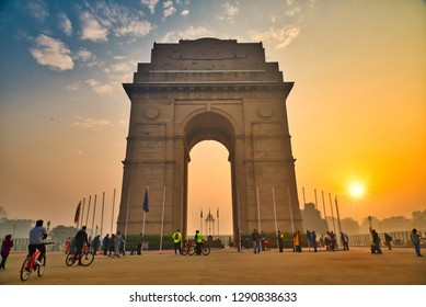 India Gate, New Delhi, January-2019: It is a triumphal arch architectural style war memorial designed by Sir Edwin Lutyens to 82,000 soldiers of the Indian Army who died in the First World War.