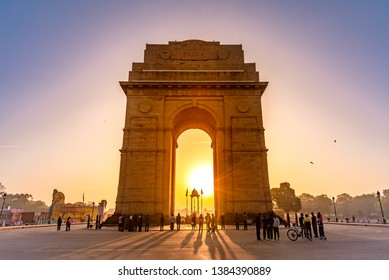 India Gate, New Delhi, March-2019: It is a triumphal arch architectural style war memorial designed by Sir Edwin Lutyens to 82,000 soldiers of the Indian Army who died in the First World War.