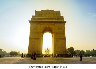 India Gate, New Delhi, November,2017: Silhouette of triumphal arch architectural style war memorial designed by Sir Edwin Lutyens to 82,000 soldiers of the Indian Army who died in the First World War.