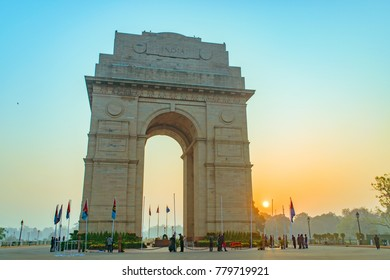 India Gate, New Delhi, November,2017: It is a triumphal arch architectural style war memorial designed by Sir Edwin Lutyens to 82,000 soldiers of the Indian Army who died in the First World War.