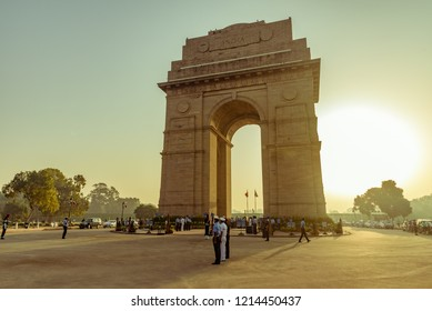 India Gate, New Delhi, India, October-2018: Soldiers of Indian Air Force marching at India Gate a ceremonial landmark as they take part in rehearsal activities for the Indian Air Force day parade.