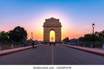 India Gate, New Delhi, October-2018: It is a triumphal arch architectural style war memorial designed by Sir Edwin Lutyens to 82,000 soldiers of the Indian Army who died in the First World War.