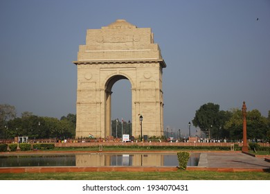 India Gate New Delhi view from the lake nearby