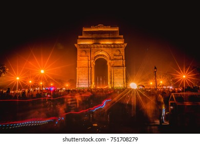 India gate at night, New Delhi, India