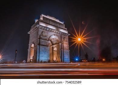 india gate at night shoot, new delhi, india