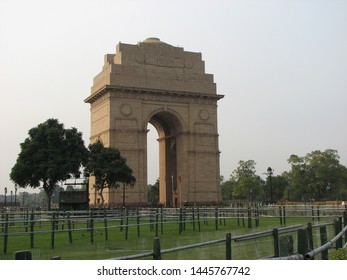 India Gate - a war memorial to 82,000 soldiers of the undivided Indian Army who died in the period 1914-21 during the First World War. Temporary fencing for crowd control.