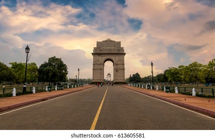 India Gate a war memorial built on the eastern end of Rajpath road New Delhi at sunset time.