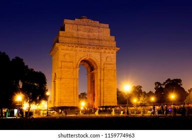 India Gate war memorial at night in New Delhi, India