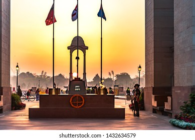 India Gate,Delhi-March,2019: Amar Jawan Jyoti(flame of the immortal soldier)is an Indian memorial constructed to commemorate soldiers of Indian Armed Forces who died invading Pakistan in war of 1971