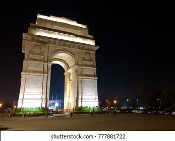 India Gate's view of lights at night,New Delhi,India