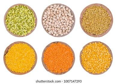 India Group of Seeds in Raw Split Mung Bean Lentils, Mung Daal, Dried Chick Pea, Kabuli Chana, Dried Coriander Seeds, Dhaniya, Yellow Split Dal, Mogar Dal, Red Lentils, Masoor Dal, Split Chickpea.