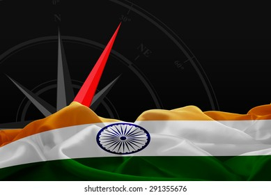 India High Resolution flag and Navigation compass in background