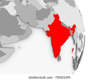 India highlighted in red on grey political globe. 3D illustration.