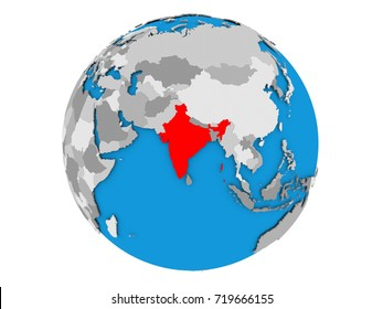 India highlighted in red on political globe. 3D illustration isolated on white background.