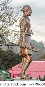 India Himachal Pradesh Kasauli Near Shimla January 2017 Statue of Major Dhyan Chand  Retired Hockey Player (Indian Hokey Team) for editorial use only