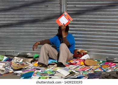 India, Himalayas - March 18, 2018: petty trade in old magazines and books