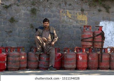 India, Himalayas - March 18, 2018: filling and trade of gas cylinders