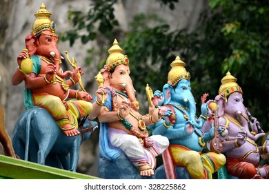 India Hindu Ganesh (Ganesha) god sculpture at Batu Caves old popular travel place Hinduism temple in Kuala Lumpur, Malaysia one of KL Landmark
