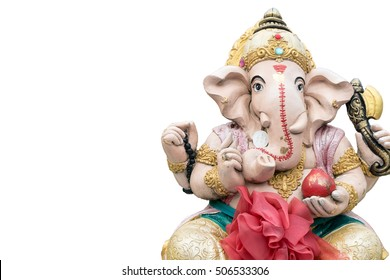 India Hindu Ganesh isolated on white background with clipping path