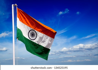 India indian flag in blue sky