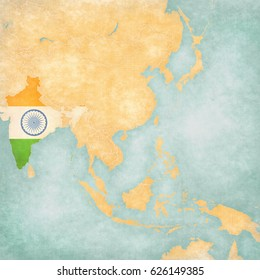 India (Indian flag) on the map of East and Southeast Asia in soft grunge and vintage style, like old paper with watercolor painting.