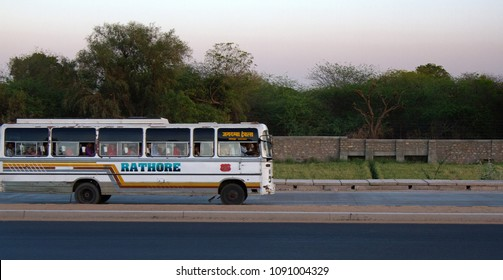 India, Jaisalmer - March 5, 2018: ancient primitive bus in morning on highway. transport of Asia in Rajasthan