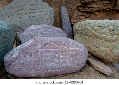 India, Jammu & Kashmir, Ladakh, Lamayuru on the Srinagar-Kargil-Leh road prayer stones.