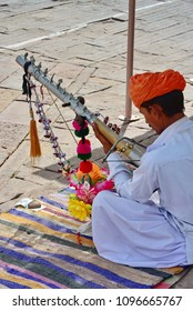 INDIA JODHPUR,  23MARCH 2016:unidentified indian man play localmusic for tourist in Mehrangarh for Jodhpur, Rajasthan.