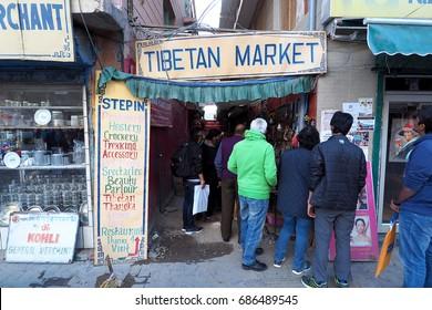India - JUNE 23 2017: The Tibetin Market in Leh Main Bazaar at Leh Ladakh, India