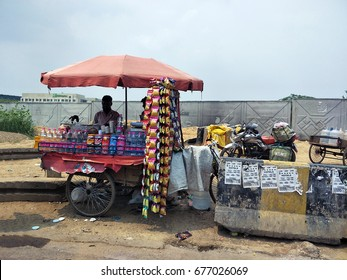 India - June 24 2017: Local street food stall on the main road in New Delhi - India