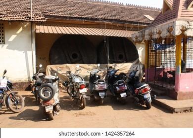 INDIA, Karnataka, Gokarna - FEBRUARY 01, 2016 Wheels from the giant wooden chariot Ratha Yatra