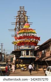 INDIA, Karnataka, Gokarna - FEBRUARY 01, 2016 Giant wooden chariots Rath Yatra