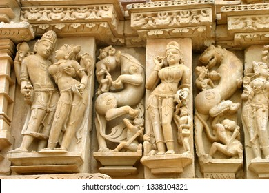 India. Khajuraho, Group of Temples, with erotic sculptures