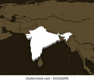 india map 3D rendering