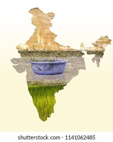 India map in agriculture field design on white gradient background, Indian agriculture, Kisan diwas concept