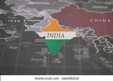 India map. Coronavirus in India. The map of india which background is flag colors. India is close to the China that start spreading and outbreak coronavirus around the world now.