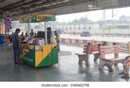 India, May 2019- Stall sell food items at railway station. IRCTC (Indian Railway Catering and Touring Corporation) now allowed selling food on modern kiosk in platforms for passengers comfort.