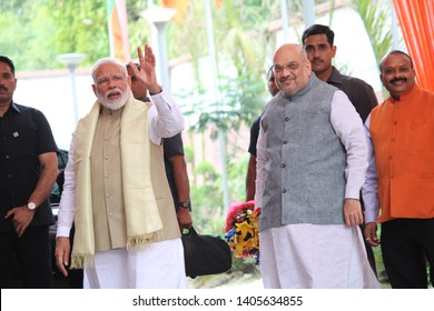 INDIA MAY 23 2019:Prime Minister Narendra Modi and BJP President Amit Shah shared their excitement and ecstasy on winning 2019 elections at BJP Headquarters in New Delhi on Thursday