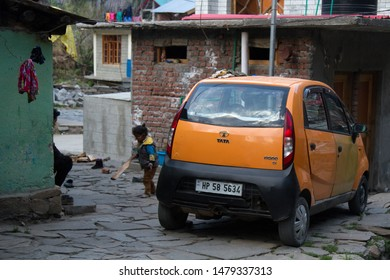 India, Monali - March 13, 2018: Indian subcompact Tata (midget car) in the yard of a small income