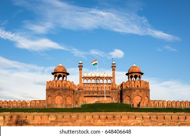 India national flag above the entrance gate of the Red Fort in New Delhi, the country capital city.