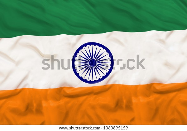 India national flag with waving fabric