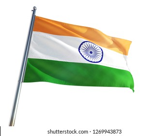 India National Flag waving in the wind, isolated white background. High Definition