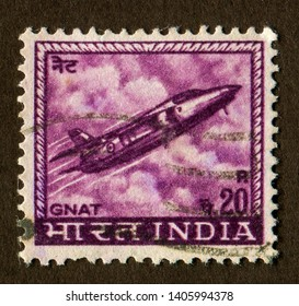 INDIA no circa: A stamp printed in India shows a Gnat fighter jet illustration from the Indian Air force.