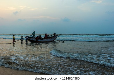 India, Odissa, Puri - 02.28.2017 - Local fishermen at dawn going for fishing.
